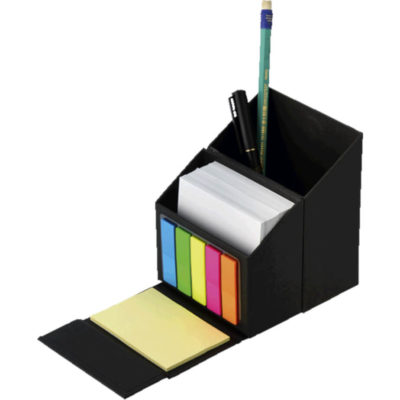 The Flip Open Desn Organiser With Sticky Notes is made from cardboard. Includes white memo pages, yellow sticky notes, colour stick notes and a pen holder. Open to display