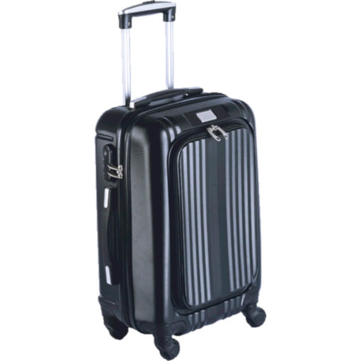 The Hard Shell Luggage Bag With Front Pocket is an ABS luggage bag. Wtih large zip compartments, a carry handle, interlocking zips and 360 degree tunring wheels.