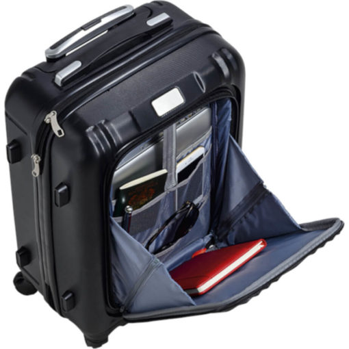 The Hard Shell Luggage Bag With Front Pocket open to display