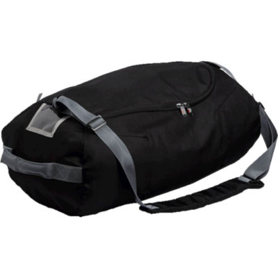 The Extra Large Foldable Duffel Bag in black with grey detail. Features a shoulder strap, and carry handles with large zip main compartment.