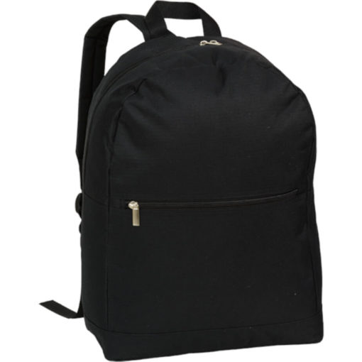 The Arch Design Backpack With Zippered Front Pocket is a large black back pack made from polyester and a PVC coating. Padded adjustable shoulder straps, carry handle, front and main compartment with a zip