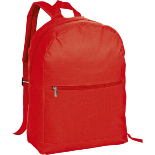 The Arch Design Backpack With Zippered Front Pocket is a large red back pack made from polyester and a PVC coating. Padded adjustable shoulder straps, carry handle, front and main compartment with a zip