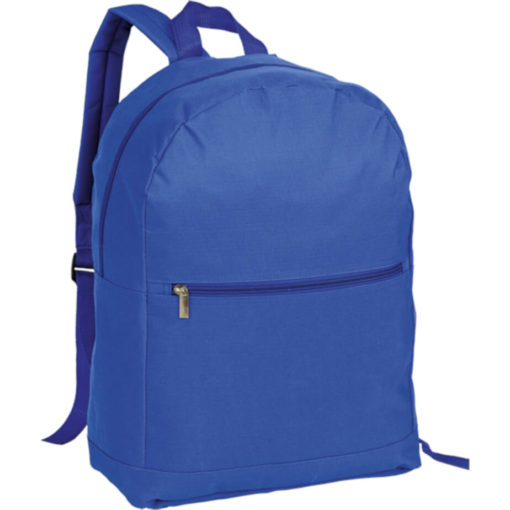 The Arch Design Backpack With Zippered Front Pocket is a large royal blue back pack made from polyester and a PVC coating. Padded adjustable shoulder straps, carry handle, front and main compartment with a zip