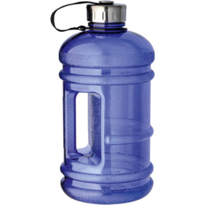 The 2.2 Litre Water Bottle With Integrated Carry Handle is a blue plastic water bottle with a carry strap, side handle and stainless steel lid.