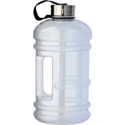 The 2.2 Litre Water Bottle With Integrated Carry Handle is a clear plastic water bottle with a carry strap, side handle and stainless steel lid.
