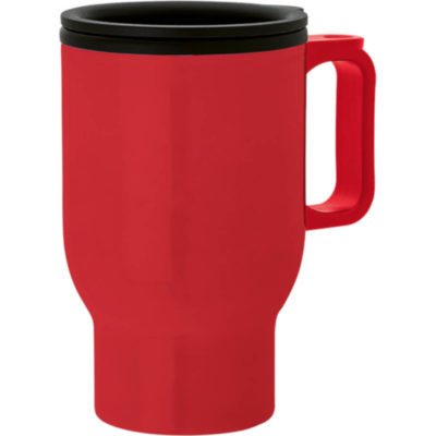 The 475ml Double Wall Polypropylene Mug is a double wall red mug. Has a contoured grip handle and a securely fitted lid with sliding action.