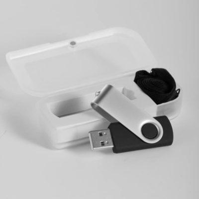 Black Swivel USB With Lanyard In Plastic Box