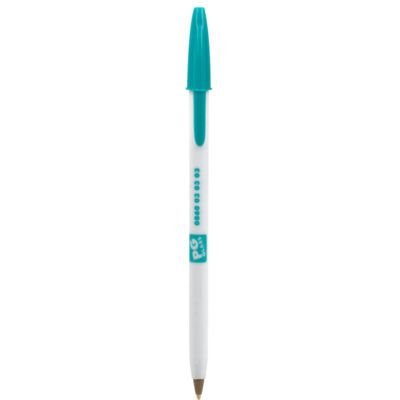 BIC Stic Round With White Barrel And Turquoise Cap