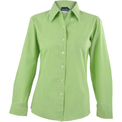 The Ladies Long Sleeve Drew Shirt with horizontal strip detail and a left chest pocket in Lime.