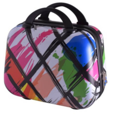 The Modern Art vanity Case - 12 inch is a PVC case with 210D lining. Two zip compartments, black carry handle and back elastic to attach to luggage. Multicoloured print