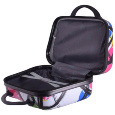 The Modern Art vanity Case - 14 inch is a PVC case with 210D lining. Two zip compartments, black carry handle and back elastic to attach to luggage. Multicoloured print