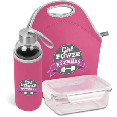 The Kooshty Neo Refreshment Kit includes a glass lunch box with PP lid, glass bottle with pink neoprene sleeve and matching pink neoprene carry bag