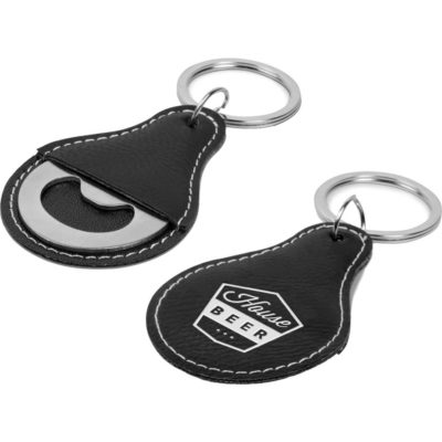 The Alehouse Bottle Opener Keyholder is made from stainless steel and has a split ring keyring with a simulated leather cover