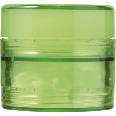 The 2 in 1 Mints and Balm Jar is a pale green plastic tub with two screw off compartments that stores 40 sugar free mints in the bottom and a lip balm on the top