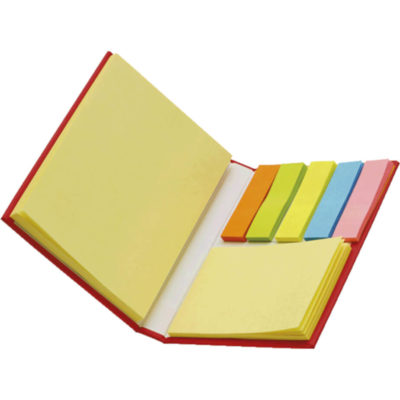 The Card Case with Sticky Notes Has A Multitude Of Different Notes For You To Jot Your Notes, Reminders And Schedule Down On, This Cover Is in Red - Open View