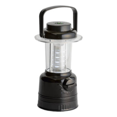 The Camping Light With Carry Handle Has An On & Off Button, Includes Batteries & Has A Compass On Top In Colour - Black.