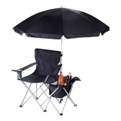 The Camping Chair with Umbrella and Cooler Full Display, Made From 600D Polyester And Steel Materials In Black - Carry Bag