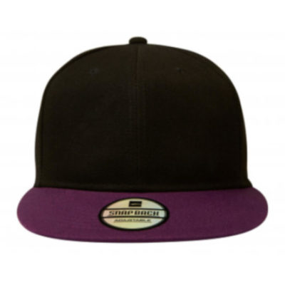 The Snapback Two Tone Cap, Flat Cap in Black & Purple.