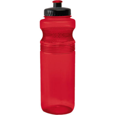 The 750ml Pro Grip PET Water Bottle has a unique contoured design with dotted-grips, a black lid and a spout that matches the colour of the bottle in red.