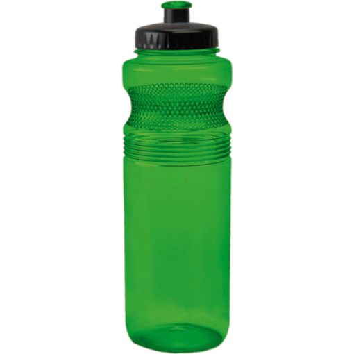 The 750ml Pro Grip PET Water Bottle Has A Unique Contoured Design With Dot-Grips, A Black Lid And A Spout That Matches The Colour Of The Bottle In Green.