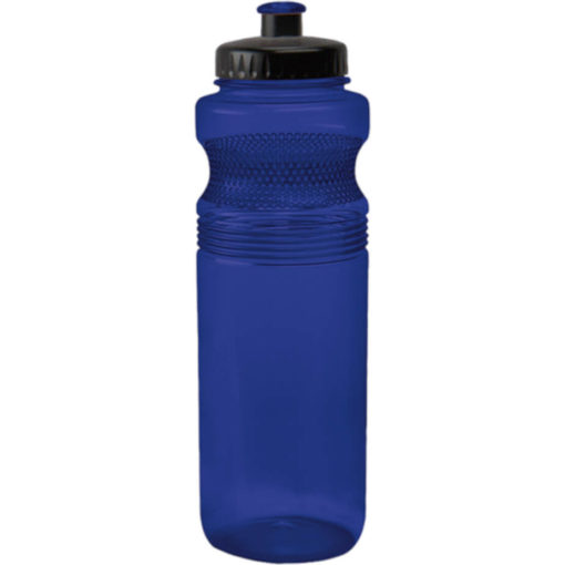 The 750ml Pro Grip PET Water Bottle Has A Unique Contoured Design With Dot-Grips, A Black Lid And A Spout That Matches The Colour Of The Bottle In Blue.