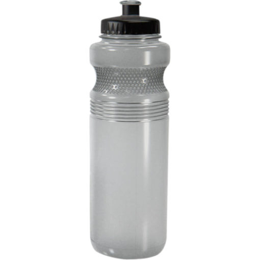 The 750ml Pro Grip PET Water Bottle Has A Unique Contoured Design With Dot-Grips, A Black Lid And A Spout That Matches The Colour Of The Bottle In Smoke.