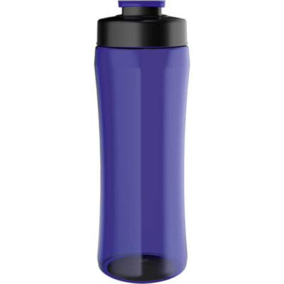 The 750ml PET Triangular Shaped Water Bottle With Flip Cap in the colour blue has a black screw-off lid. Made From BPA free PET material with a 750ml capacity.