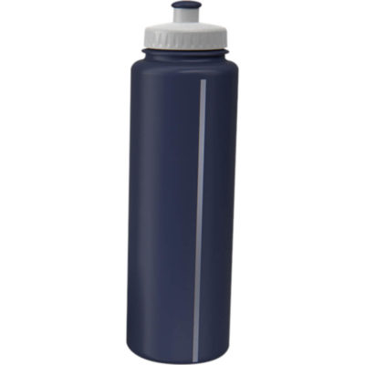 The 750ml Classic Sports Water Bottle With Visi-Stripe, White Screw-Off Lid, Solid Colour Body And Spout in Navy.