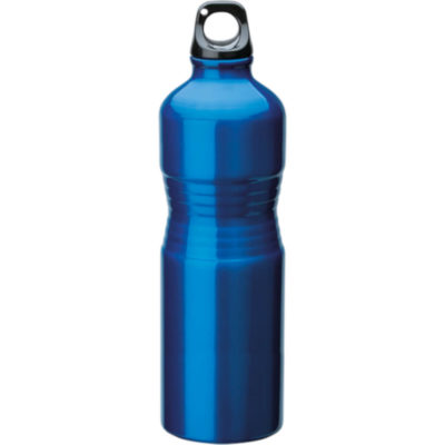 The 680ml Shaped Aluminium Water Bottle With Metallic Finish Exterior In Blue