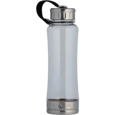 The 650ml Water Bottle With Carry Strap With Stainless Steel Screw-Off Cap, Clear Colour.