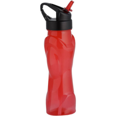 The 570ml Curved Body Water Bottle With Flip Top Spout Connected To A Straw In Red