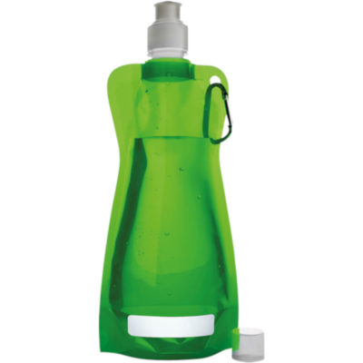 The 420ml Foldable Water Bottle with Carabiner Clip in Pale Green