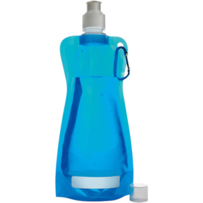 The 420ml Foldable Water Bottle with Carabiner Clip in Pale Blue