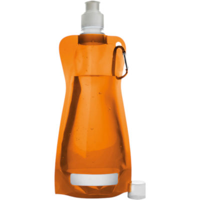 The 420ml Foldable Water Bottle with Carabiner Clip in Orange