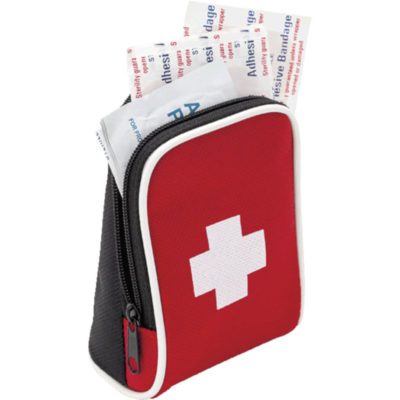 The 28pc First Aid Kit Complete In A Red Nylon Carry Bag With White Trim Contains First Aid Treatment Essentials, Front View Open Display.