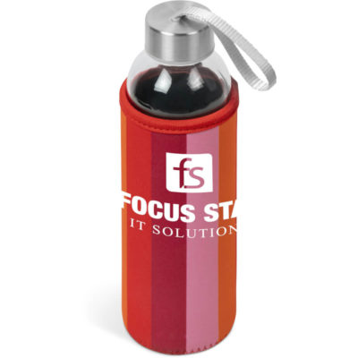 The Kooshty Quirky Water Bottle With Stainless Steel Lid, Glass Body And Neoprene Sleeve In Red.