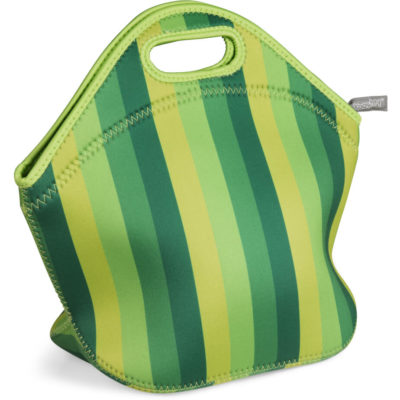 The Kooshty Quirky Lunch Bag is a lime green insulating and protective neoprene lunch bag. With a vertical stripe pattern in varying shades of lime green