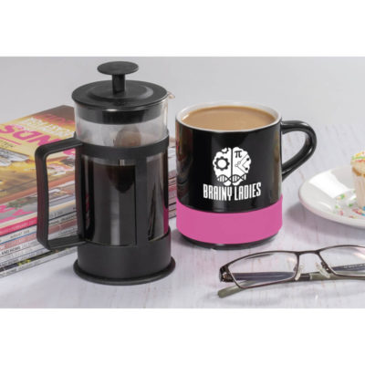 The Kooshty Mixalot Koffee Set Display Picture Featuring The Plunger And Coffee Mug With Silicone Band