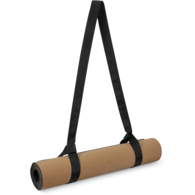 The Kooshty Kork Yoga Mat is a 100% natural and biodegradable cork mat with a carry strap