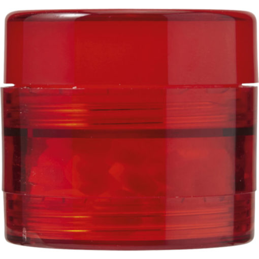 The 2 in 1 Mints and Balm Jar is a red plastic tub with two screw off compartments that stores 40 sugar free mints in the bottom and a lip balm on the top