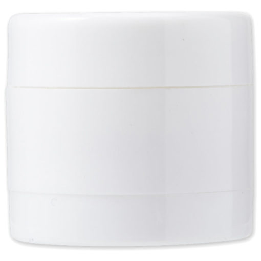 The 2 in 1 Mints and Balm Jar is a white plastic tub with two screw off compartments that stores 40 sugar free mints in the bottom and a lip balm on the top