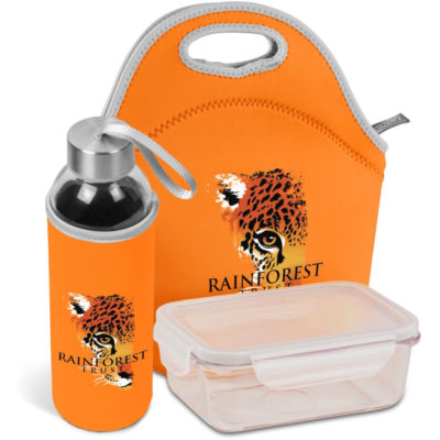 The Kooshty Neo Refreshment Kit includes a glass lunch box with PP lid, glass bottle with orange neoprene sleeve and matching orange neoprene carry bag