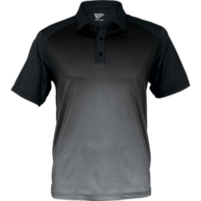 The Ernie Els Mens Masters Golfer Display of the model wearing the Atlantic Blue Melange-Navy shirt