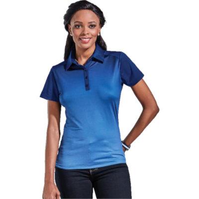 The Ernie Els Ladies Masters Golfer Display of the model wearing the Atlantic Blue Melange-Navy shirt