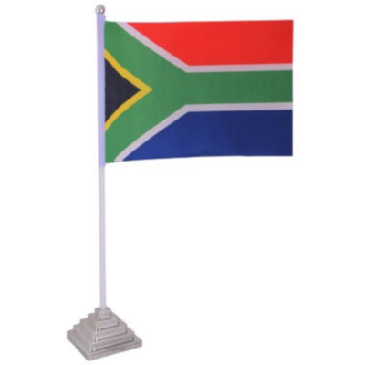 The SA Flag & Stand is a fabric flag on a plastic pole with its own base for easy standing