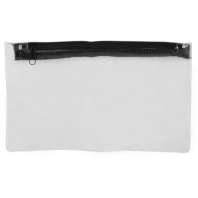 The PVC Pencil Case is a clear pencil case with a black zip closure