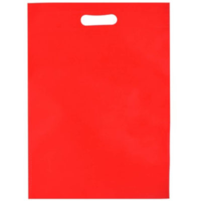 The Budget Shopper Bag is a non woven red bag with a carry handle and heat sealed seams