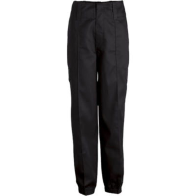 The Fidelity Combat Trouser made from black polycotton. Features a long length, elasticated hem, back pocket with velcro closure, side leg pocket with flap and button closure. Pin tuck detail, two side pockets and wide belt loops