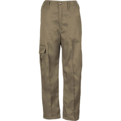 The Contract Combat Trouser in khaki polycotton material. Includes a half elasticated waistband, pintucks down the front of the legs, triple needle on the legs for extra durability and a side leg pocket