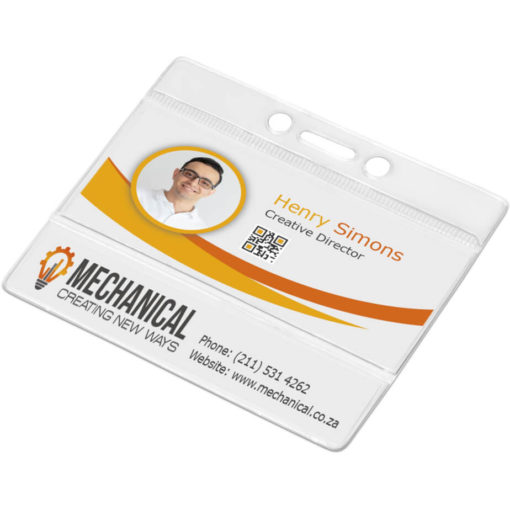 The Presidential Lanyard Pouch is made with clear PVC and has holes to attach to a lanyard clip